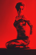 black and red image 3d naked woman