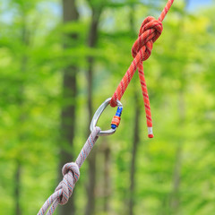 Carabine and knots on ropes