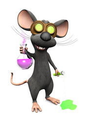 Mad cartoon mouse doing a science experiment, image three.