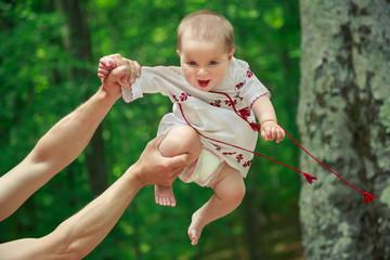 Baby in ukrainian folk dress vyshyvanka