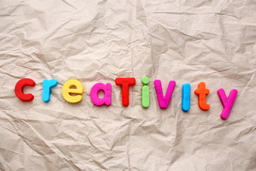 Creativity motto by alphabet letters