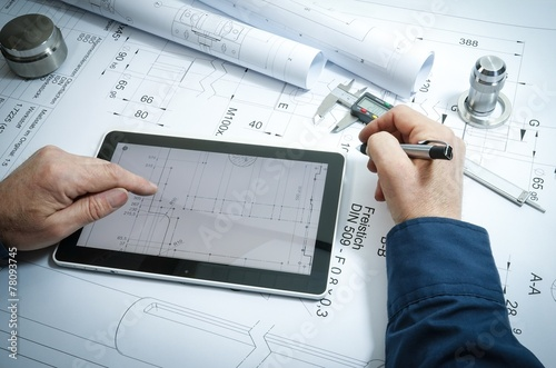 Leinwanddruck Bild Konstruktion, technische Berechnungen für Metallbau
