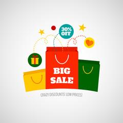 Woman shopping sale icon flat