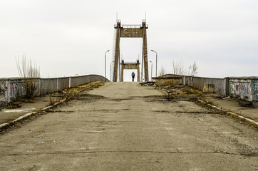 Old abandoned  bridge over the river Dnieper