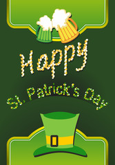 Happy St Patricks day card with beer, lucky clover