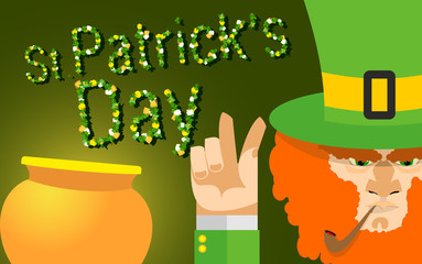 St Patricks day card with beer, lucky clover. leprechaun with a