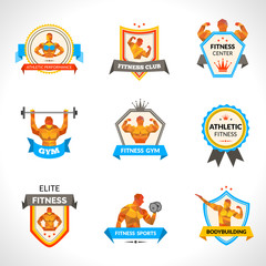 Bodybuilding Emblems Set