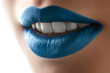 Leinwandbild Motiv fashion blue lips