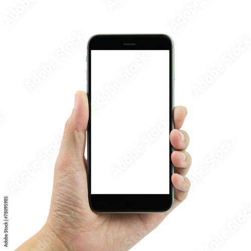 Leinwanddruck Bild Hand holding smart phone