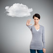 Smart girl shows stop gesture to cloud, isolated