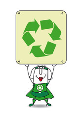 Super Recycling woman and the recycling sign