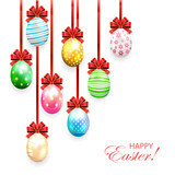 Decorated Easter eggs with bow