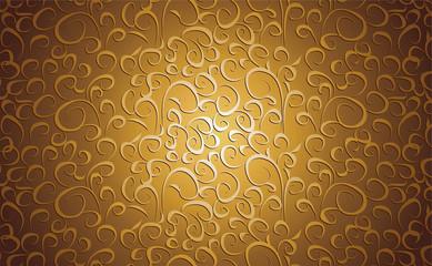 Vintage floral background in gold