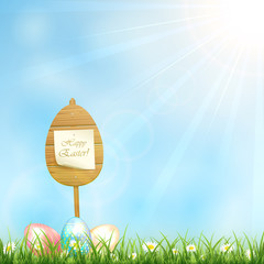 Easter background with wooden sign and eggs