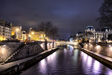 bridge on seine river at night