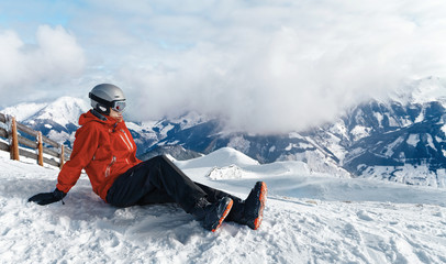 Snowboarder admiring the stunning view