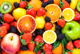 Fresh fruits mixed.Fruits background. poster