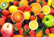 """Постер, картина, фотообои """"Fresh fruits mixed.Fruits background."""""""
