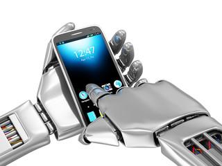 Metal Robotic Hand Touching Modern Smart Phone