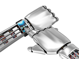 Modern Smart Watch on a Metal Robotic Hand