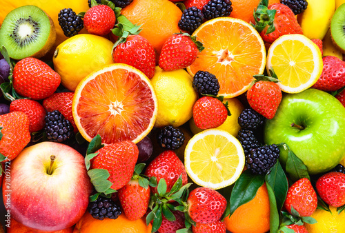 Poster Fresh fruits mixed.Fruits background.