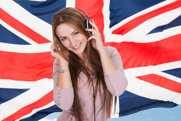 Young Woman Listening English Learning Audio Book