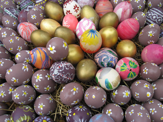 Background with Easter Eggs decorated to children