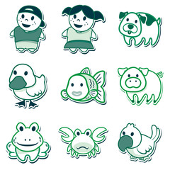 icons of people and animals, for signaling