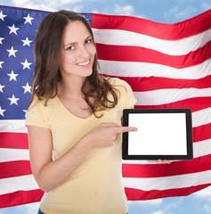 American Woman Holding Digital Tablet