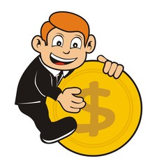 businessman character up coins