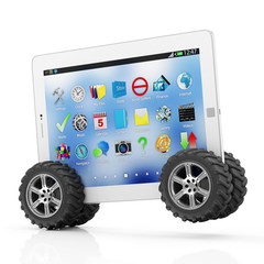 Modern Tablet PC on Wheels isolated on white background