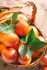 Bloody oranges in a basket