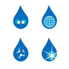 Four drop symbols set