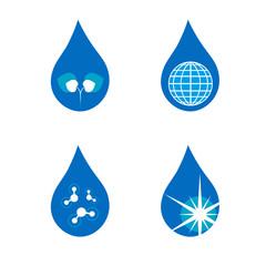 Four drop symbols set