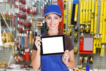 Female Worker Holding Digital Tablet