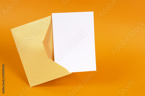 Gold envelope with blank message card - 78099556