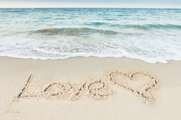 Love Text And Heart Drawn On Sand By Sea