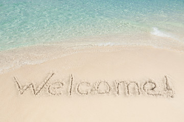 Welcome Written On Sand By Sea
