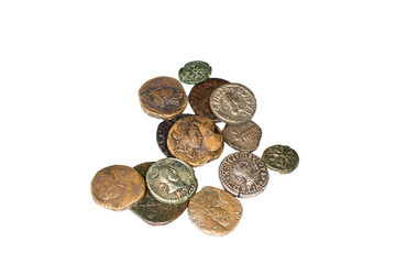 Vintage bronze ann silver coins on a white background
