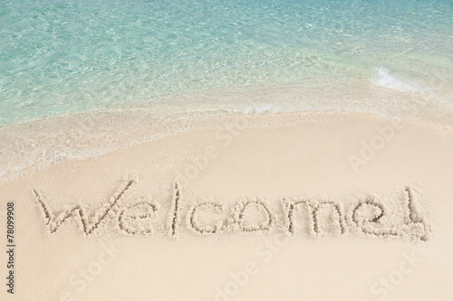canvas print picture Welcome Written On Sand By Sea