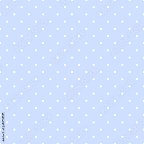 Tile vector pattern white polka dots on pastel blue background