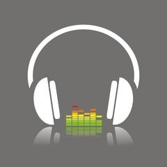 Icono escuchar música color FO reflejo