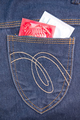two condom in jeans pocket