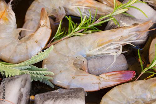 Foto op Canvas Tijger raw prawns