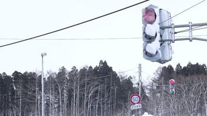 着雪したLED信号機