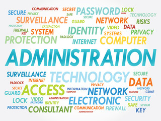ADMINISTRATION word cloud, security concept