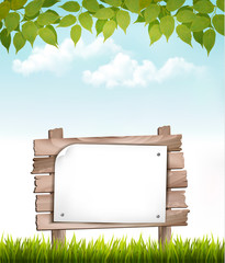 Natural background with leaves and a wooden sign. Vector.
