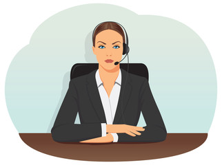 Call center operator in headset sitting on office chair