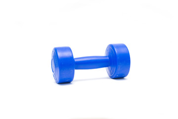 Blue dumbbell isolate on white background