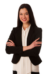 Portrait of a beautiful happy asian business woman isolated over